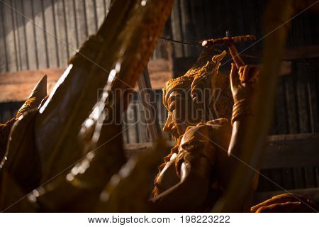 Candle wax shaped as a horse on the candle float for candle festival competition in Ubon Ratchathani, Thailand on June 08, 2017.