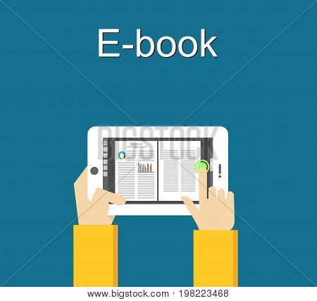 Electronic book concept. Digital book concept. Reading E-book on smartphone concept illustration.