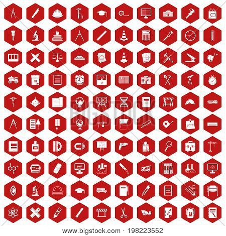 100 compass icons set in red hexagon isolated vector illustration
