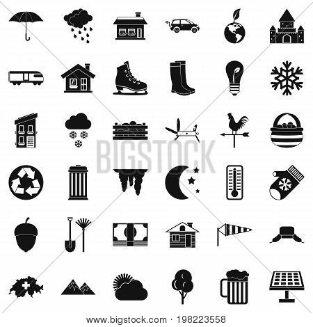 Country house icons set. Simple style of 36 country house vector icons for web isolated on white background