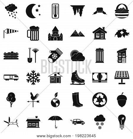 Nature house icons set. Simple style of 36 nature house vector icons for web isolated on white background