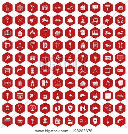 100 construction icons set in red hexagon isolated vector illustration
