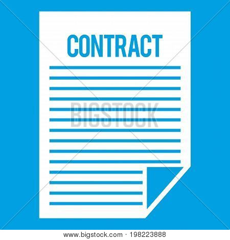 Contract icon white isolated on blue background vector illustration