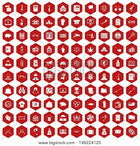 100 criminal offence icons set in red hexagon isolated vector illustration