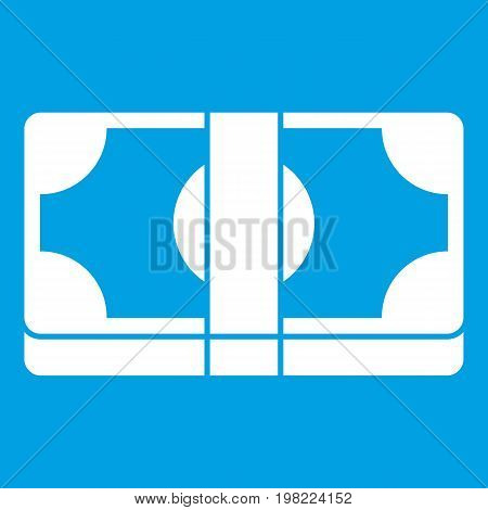 Packed dollars money icon white isolated on blue background vector illustration