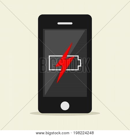 Low battery illustration. Flat design. Low battery notification on phone screen.