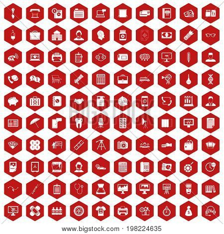 100 department icons set in red hexagon isolated vector illustration