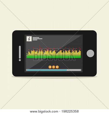 Music player illustration. Music player interface on phone screen illustration. Media player concept.