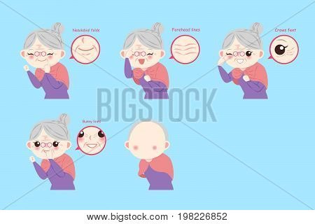 old people with health concept on the blue background