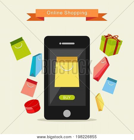 E-commerce Illustration. Online Shopping Illustration. Buying online concept design.
