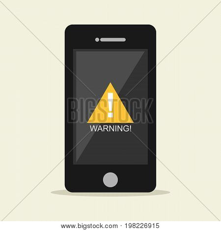 Warning notification on mobile phone. Error, Bug.