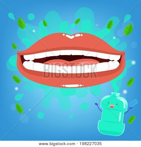 cartoon mouth with mouthwash on the blue background