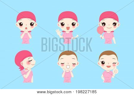 woman with cancer chemotherapy on the blue background