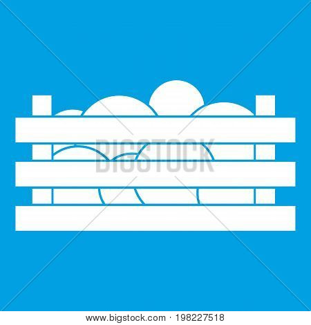 Watermelons in wooden crate icon white isolated on blue background vector illustration