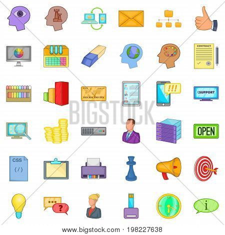 Open market icons set. Cartoon style of 36 open market vector icons for web isolated on white background