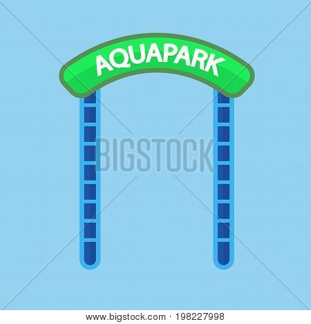 Vector illustration of green and blue colored aquapark entrance sign.