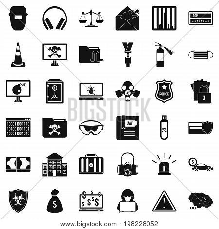 Internet crime icons set. Simple style of 36 internet crime vector icons for web isolated on white background