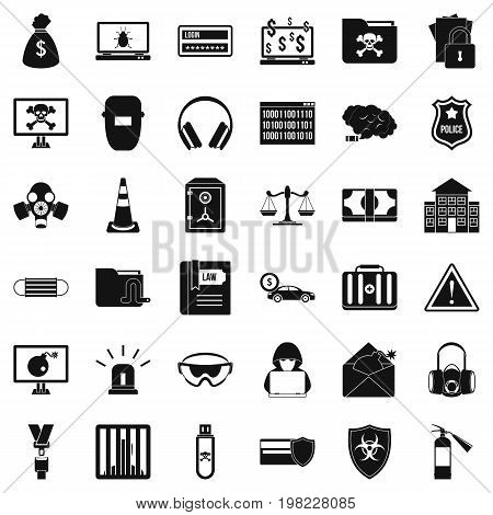 Spam virus icons set. Simple style of 36 spam virus vector icons for web isolated on white background