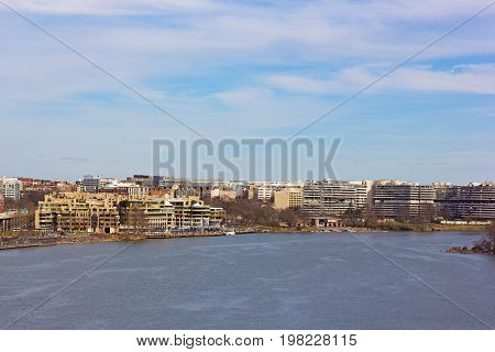 Washington DC panorama near Potomac River waterfront USA. A view on Georgetown waterfront in spring.