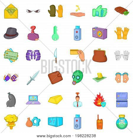 Crime and low icons set. Cartoon style of 36 crime and low vector icons for web isolated on white background