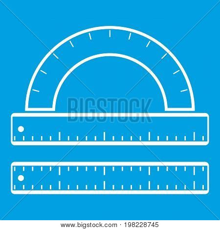 Ruler and protractor icon white isolated on blue background vector illustration