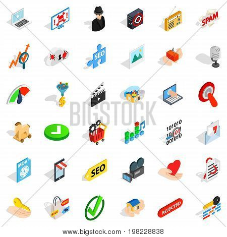 Spam letter icons set. Isometric style of 36 spam letter vector icons for web isolated on white background