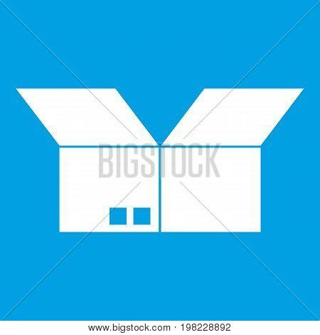 Opened cardboard box icon white isolated on blue background vector illustration