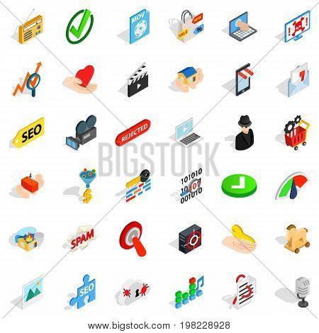 Computer protection icons set. Isometric style of 36 computer protection vector icons for web isolated on white background