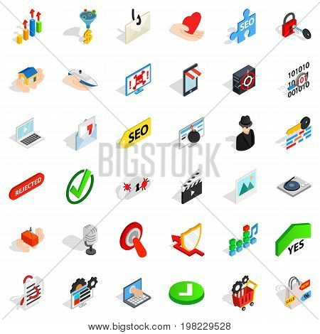 Cyber protect icons set. Isometric style of 36 cyber protect vector icons for web isolated on white background