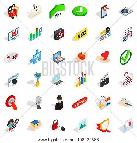 Safety icons set. Isometric style of 36 safety vector icons for web isolated on white background