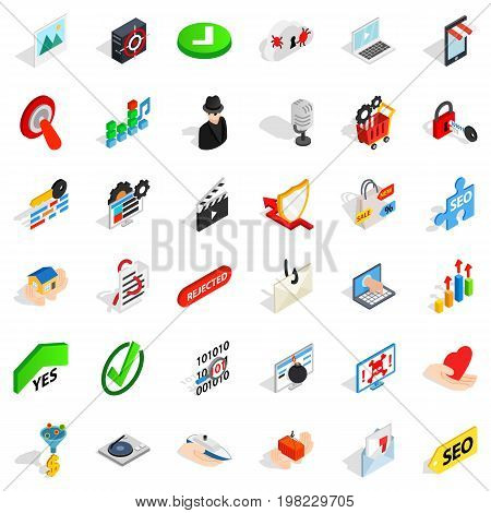 Cyberspace icons set. Isometric style of 36 cyberspace vector icons for web isolated on white background