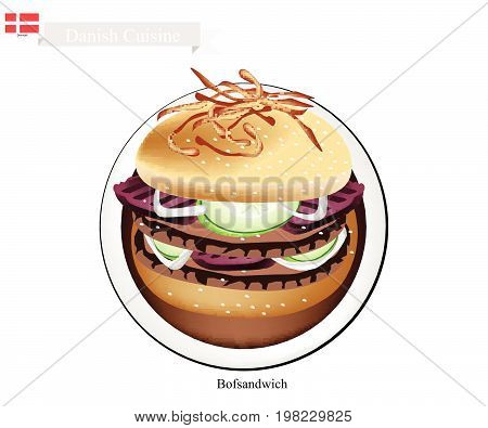 Danish Cuisine, Illustration of Bofsandwich or Traditional Hamburger Made of Ground Beef Patty Placed Inside A Sliced Bread Roll. The National Dish of Denmark.
