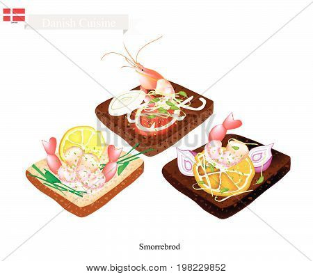 Danish Cuisine, Illustration of Smorrebrod or Traditional Buttered Rye Bread or Dark Rye Bread Topped with Shrimp and Slice of Lemon and Fresh Dill. The National Dish of Denmark.