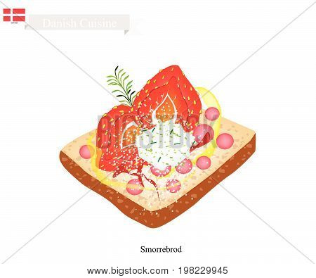 Danish Cuisine, Illustration of Smorrebrod or Traditional Buttered Rye Bread or Dark Rye Bread Topped with Fresh Strawberry and Cheese. The National Dish of Denmark.