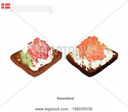 Danish Cuisine, Illustration of Smorrebrod or Traditional Buttered Rye Bread or Dark Rye Bread Topped with Fresh Salmon and Tuna. The National Dish of Denmark.