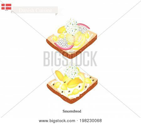 Danish Cuisine, Illustration of Smorrebrod or Traditional Buttered Rye Bread or Dark Rye Bread Topped with Boil Egg, Fresh Fruit and Tartar Sauce. The National Dish of Denmark.