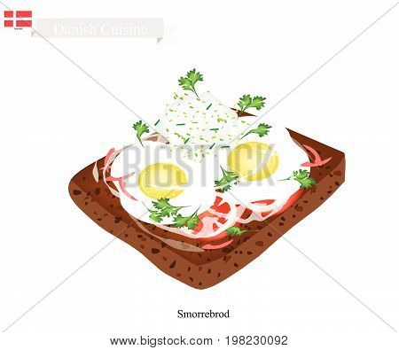 Danish Cuisine, Illustration of Smorrebrod or Traditional Buttered Rye Bread or Dark Rye Bread Topped with Fried Egg and Tartar Sauce. The National Dish of Denmark.