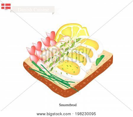 Danish Cuisine, Illustration of Smorrebrod or Traditional Buttered Rye Bread or Dark Rye Bread Topped with Shrimp and Boil Egg. The National Dish of Denmark.