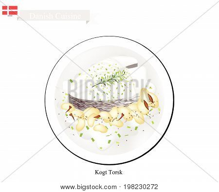 Danish Cuisine, Illustration of Traditional Boiled Cod Fillet Served with Parsley Sauce and White Beans. One of The Most Famous Dish in Denmark.