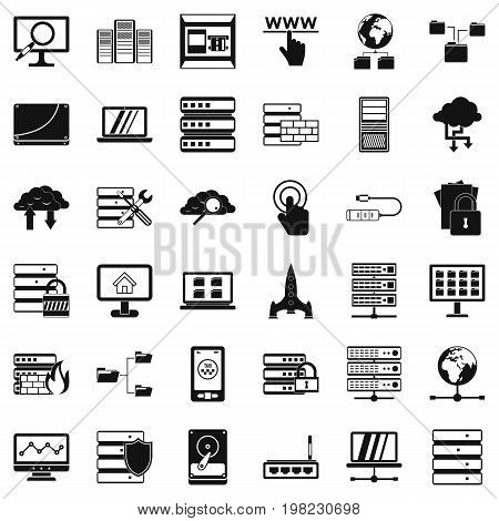 Data protection icons set. Simple style of 36 data protection vector icons for web isolated on white background