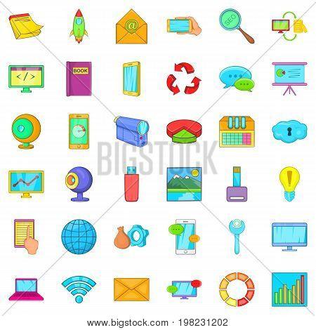 File database icons set. Cartoon style of 36 file database vector icons for web isolated on white background