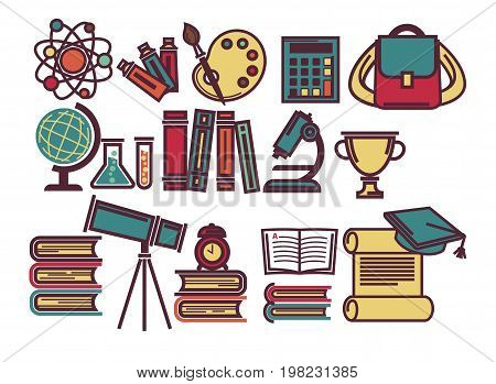 School and science study supplies items of lesson books, rucksack or biology microscope and astronomy telescope, geography globe or mathematics calculator and physics atom. Vector flat icons set