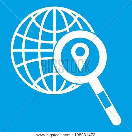 Globe, map pointer and magnifying glass icon white isolated on blue background vector illustration