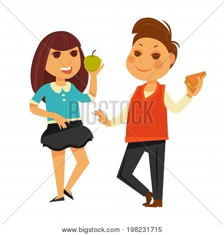 Children in school eating lunch. Boy child with sandwich and girl having apple and talking. Vector flat isolated icons set