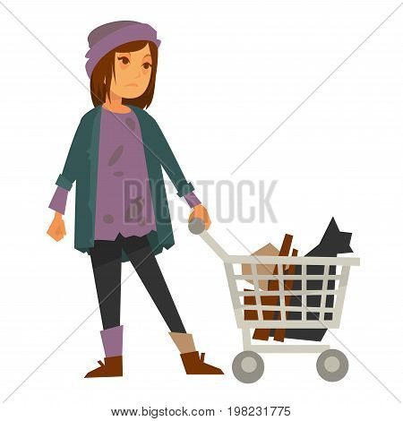 Sad homeless woman in stained sweater, different socks, black pants, leather boots and warm hat with metal cart full of useless stuff isolated cartoon vector illustration on white background.