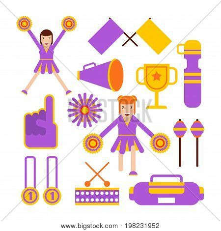 Cheerleaders girls and cheerleading garments. Vector flat isolated icons of pom-poms, fan flags or whistles and megaphone, sport club winner cup awards and medals, music player and thumb up symbol