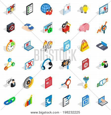 Database cloud icons set. Isometric style of 36 database cloud vector icons for web isolated on white background