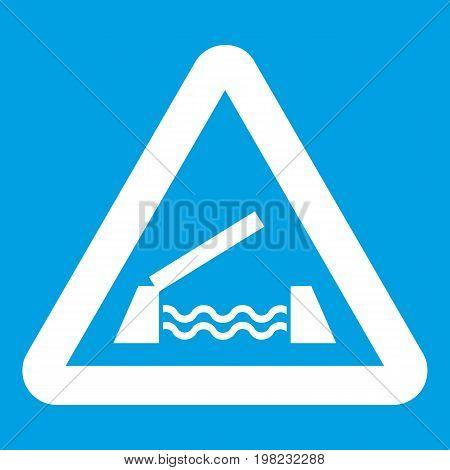 Lifting bridge warning sign icon white isolated on blue background vector illustration