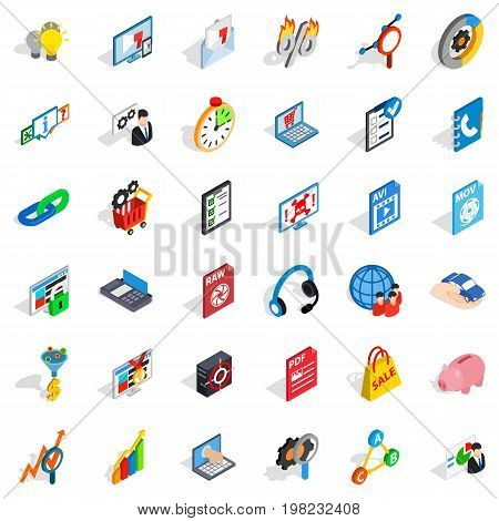 Information cloud icons set. Isometric style of 36 information cloud vector icons for web isolated on white background