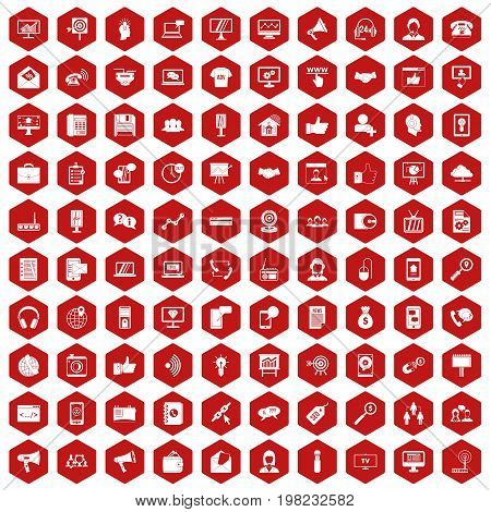 100 help desk icons set in red hexagon isolated vector illustration